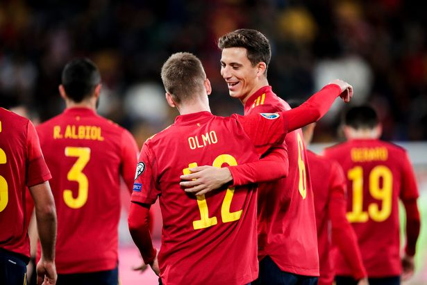 Pau Torres and Dani Olmo playing for Spain