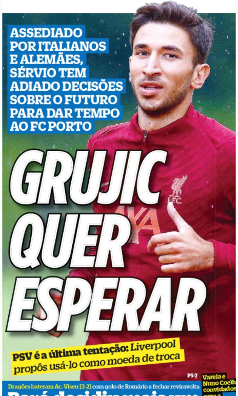 O Jogo - Liverpool offer Grujic for Malen